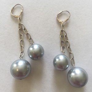 Bold Silver Pearl Earrings